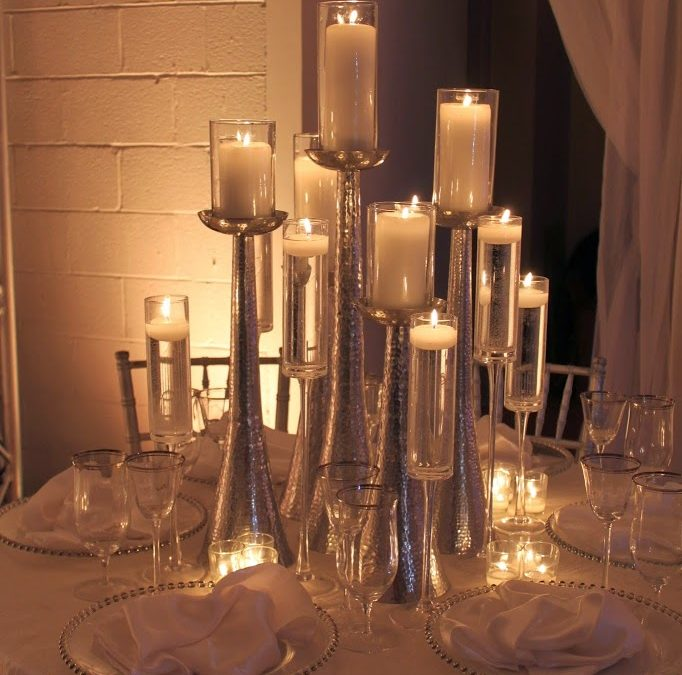 Silver and White Candle Lit Centerpiece